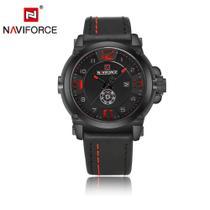 Relógio Masculino Naviforce NF9099 BRB Couro-Preto Vermelho -