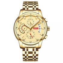 Relógio masculino nibosi 2358 dourado cronógrafo todo funcional analógico casual social inox -