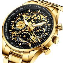 Relógio masculino nibosi 2385 dourado e preto cronógrafo todo funcional inox social -