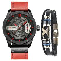 Relógio Masculino Original Curren Esportivo + Pulseira Couro -