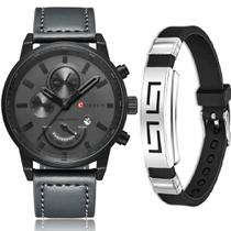 Relógio Masculino Original Curren Luxo + Pulseira Bracelete -