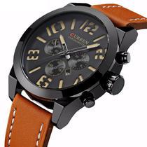cca6ecf2a56 Relógio Masculino Original Curren Pulseira Couro Função Data