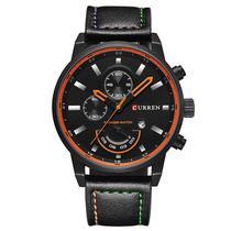 Relógio Masculino Original Curren Pulseira De Couro Aço Inox -