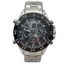Relógio Masculino Prata Funcional Resistente Aço Inoxidável Digital/Analógico - Intimes