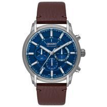 Relógio Masculino Prata Orient Pulseira de Couro Cronógrafo -