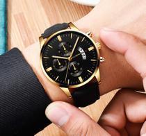 Relógio Masculino Preto Black Motion Fundo Dourado - CUENA
