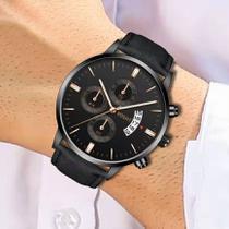 Relógio Masculino Preto Black Motion Vosht Quartz -