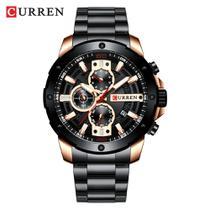 Relógio Masculino Preto Dourado  Esportivo Militar Curren -