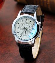 Relógio Masculino Pulseira Preta em Quartzo Analógico Visor Branco - W1