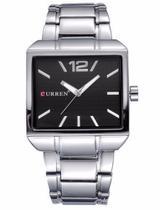 Relógio Masculino Quadrado Aço Inox Curren 8132 Preto Luxo -