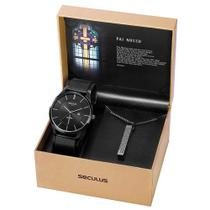Relógio Masculino Seculus 20769GPSKPA1K1 com Colar Pai Nosso -