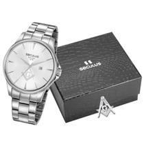 Relógio Masculino Seculus 35012G0SVNA2K1 com Broche Maçonaria -