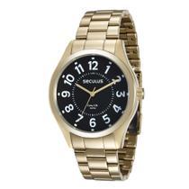 Relógio Masculino Seculus Aço Dourado Fundo Preto Long Life -