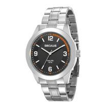 Relógio Masculino Seculus Aço Fundo Preto Long Life -