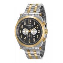 Relógio Masculino Seculus Aço Prata e Dourado, Mostrador Preto e Detalhes Gelo e Dourados 20554GPSVBA2 Cronógrafo -