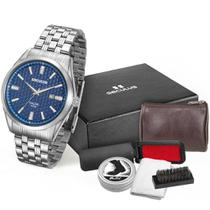 Relógio masculino seculus aço prata kit 28862G0SKNA1K1 -