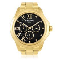 Relógio Masculino Seculus Analógico 28829LPSVDS5 Fundo Preto -