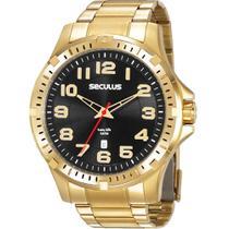 Relógio Masculino Seculus Analógico Dourado Aço Calendário 20787GPSVDA3 -