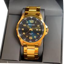 Relógio Masculino Seculus Analógico Dourado Aço Calendário 20802GPSVDA2 -