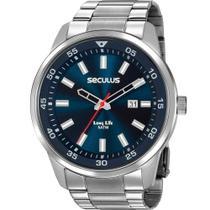 Relógio Masculino Seculus Analógico Prata Aço Calendário 20786G0SVNA1 -