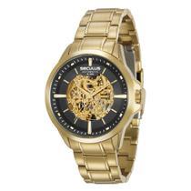 Relógio Masculino Seculus Automático Aço Dourado, Mostrador Transparente com Interior Dourado Visível 20552GPSVDA1 -