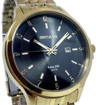 Relógio Masculino Seculus Dourado Casual Long Life 5ATM Pulseira Aço -