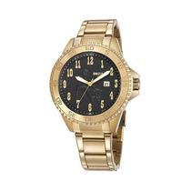 Relógio Masculino Seculus Dourado Country Fundo Preto -