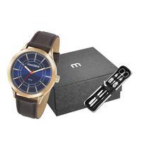 Relógio Masculino Seculus em couro 83411GPMVDH2K1 fundo Azul com Kit Manicure - Mondaine
