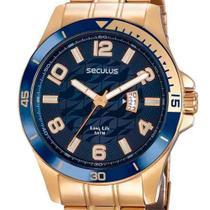 Relógio Masculino Seculus TOP Visor Texturizado Dourado -