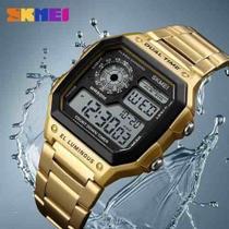 Relogio masculino Skmei 1335 digital esportivo dourado -