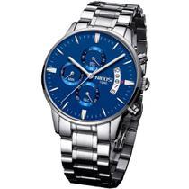 Relógio Masculino Social Esporte Fundo Azul Nibosi 2309 Prata -
