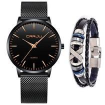 Relógio Masculino Social Ultra Fino De Luxo + Pulseira Metal - CRRJU