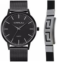 Relógio Masculino Ultra Fino Metal E Aço Inox Kit Pulseira - CRRJU
