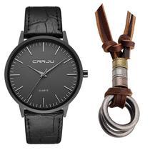 Relógio Masculino Ultra Fino Social Luxo + Colar Dois Anéis - Crrju