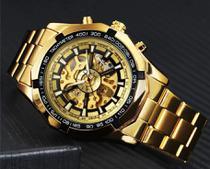 Relógio Masculino Winner Forsining Skeleton Automático Mecânico esqueleto Inoxidável Resistente à água Cor Dourado Gold - Winner/Forsining
