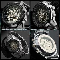 Relógio Masculino Winner Forsining Skeleton Automático Mecânico esqueleto Inoxidável Resistente à água Cor Prata Silver - Winner/Forsining