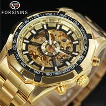 Relógio Masculino Winner Skeleton Automático Mecânico esqueleto Inoxidável Resistente água Relógio Dourado Gold - Winner/Forsining