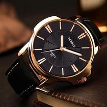 Relógio Masculino Yazole 332 Bronze Pulseira Couro Preta -