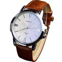 Relógio Masculino Yazole 332 Pulseira Couro Marrom -