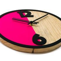 Relógio Metade Rosa Decoração Sala Cozinha - Az Design
