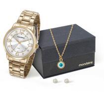 Relógio Mondaine Feminino 83367LPMVDE1K + Colar e brincos -