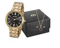 Relógio mondaine feminino com colar e brinco 76739lpmvde2k2 - Seculus