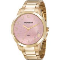 Relógio Mondaine Feminino Dourado 53756LPMVDE1 Analógico 5 Atm Cristal Mineral Tamanho Grande -