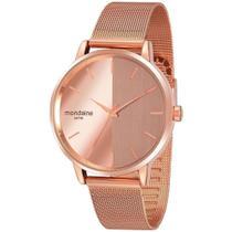 Relógio Mondaine Feminino Espelhado Dourado Rose Gold -