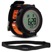 Relógio Monitor Cardíaco Atrio Fortius ES049 Preto e Laranja Contador de Calorias Com Cinta Torácica -
