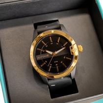 Relógio Mormaii Maui Unissex Preto Dourado Silicone Mopc21jag/8p -