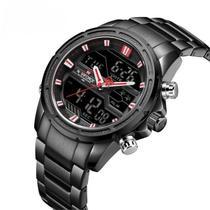 Relógio navifoce NF9138 preto anadigi masculino social casual ponteiro inox - Naviforce