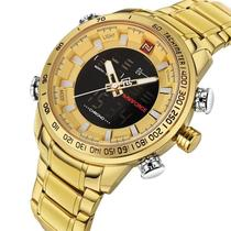 Relogio naviforce 9093 digital e analogico masculino inox original social esportivo dourado -