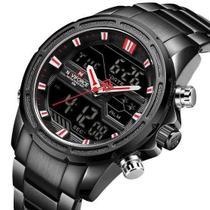 Relógio Naviforce 9138 Preto masculino digital e analogico social inox original casual -