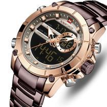 Relogio naviforce 9163 marrom bronze masculino digital analogico anadigi grande casual esportivo -